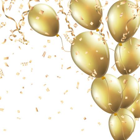 Illustration pour Festive background with gold balloons and confetti - image libre de droit