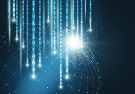 Ilustración de Network connection with matrix binary Vector - Imagen libre de derechos
