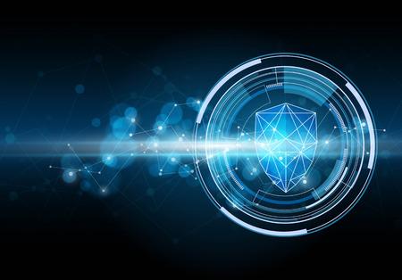 Ilustración de Network security shield. Cyber security concept. Vector illustration - Imagen libre de derechos