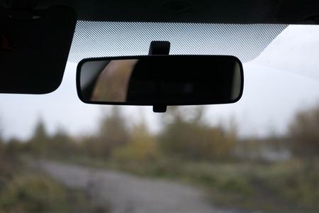 Photo pour Car rear view mirror isolated on white - image libre de droit