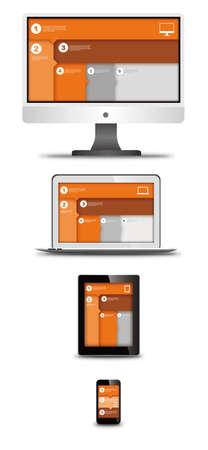 Ilustración de responsive web design on different devices - Imagen libre de derechos