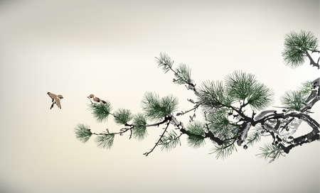 Ilustración de Ink style Pine Tree and birds - Imagen libre de derechos