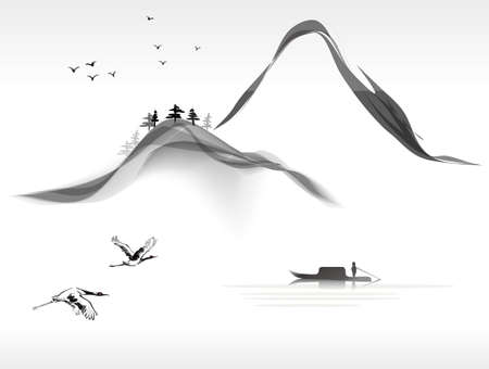 Illustration pour landscape painting - image libre de droit