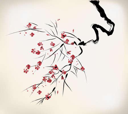 Illustration pour ink style blossom - image libre de droit