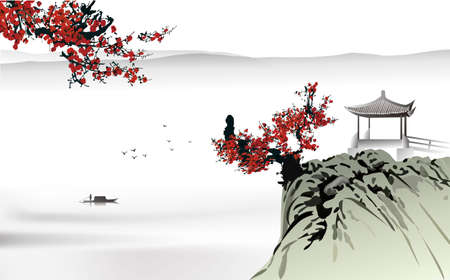 Photo pour Chinese painting  - image libre de droit