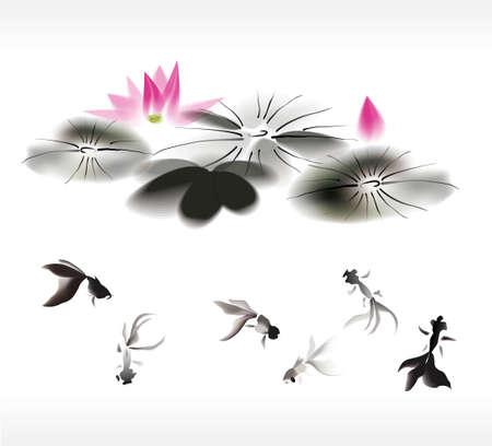 Illustration pour ink gold fish background - image libre de droit
