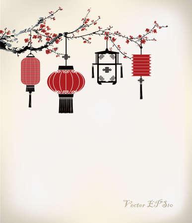 Illustration pour Chinese Lantern hang on cherry tree - image libre de droit