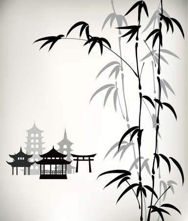 Illustrazione per ink painted bamboo - Immagini Royalty Free