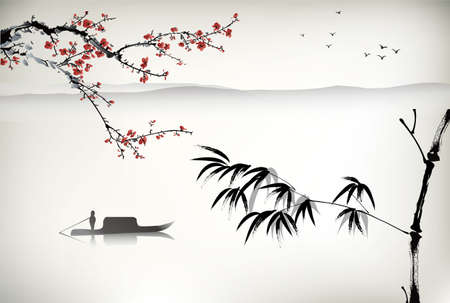 Illustration pour Chinese landscape painting - image libre de droit