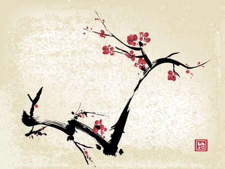 Illustration pour cherry blossom, ink painting - image libre de droit