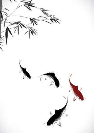 Ilustración de  black and red carp and bamboo - Imagen libre de derechos