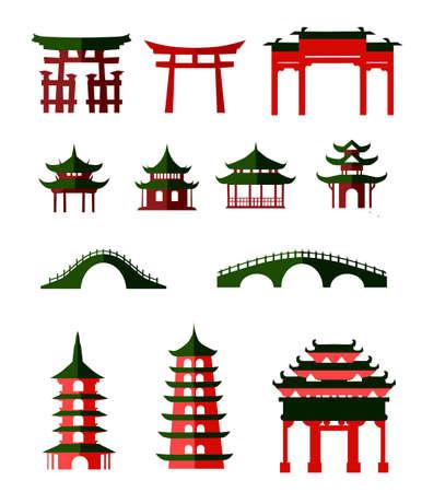 Ilustración de Chinese traditional pavilions - Imagen libre de derechos