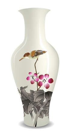 Illustration pour vase with Chinese ink style flower bird drawing - image libre de droit