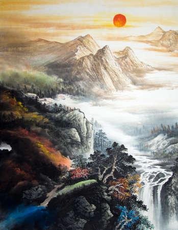 Photo pour Chinese traditional painting of landscape - image libre de droit