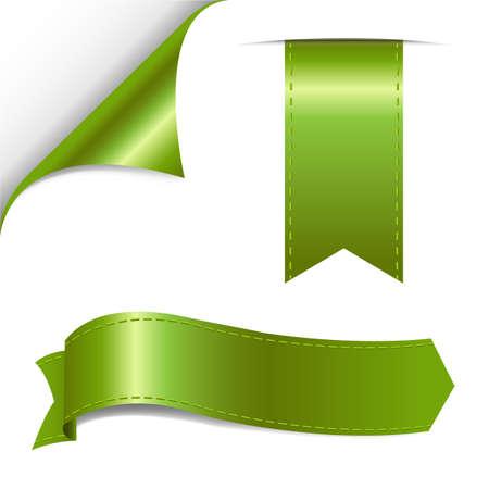 Green Ribbon Set, Vector Illustration