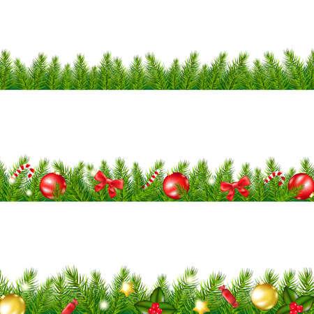 Ilustración de Christmas Border With Fir Tree With Gradient Mesh, Vector Illustration - Imagen libre de derechos