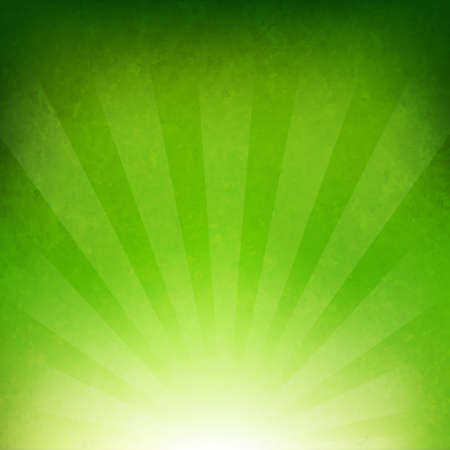 Illustration for Green Sunburst Background With Gradient Mesh, Vector Illustration - Royalty Free Image