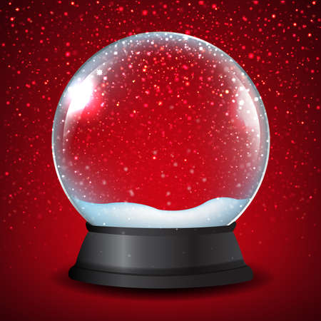 Illustration pour Winter Snow Globe With Red Background With Gradient Mesh, Vector Illustration - image libre de droit