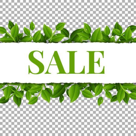 Illustration pour Sale Poster With Leaves And Transparent Background With Gradient Mesh, Vector Illustration - image libre de droit