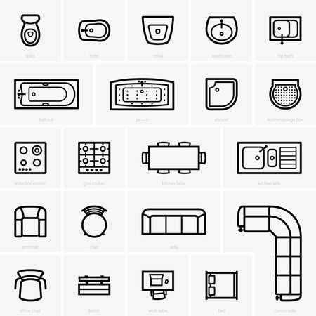 Illustration pour Top view furniture icons - image libre de droit
