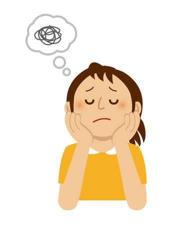 Ilustración de A thinking/troubled/suffering woman illustration - Imagen libre de derechos