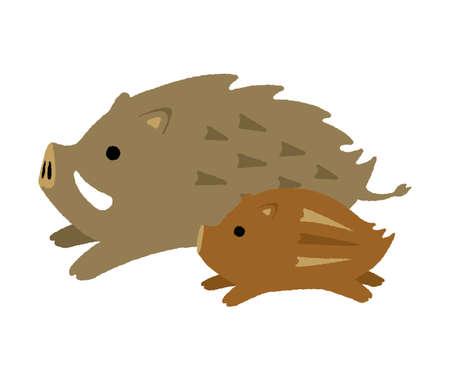 Illustration for cartoon wild boar illustration (parent and child) - Royalty Free Image