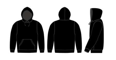Illustration pour Illustration of hoodie (hooded sweatshirt) / black - image libre de droit