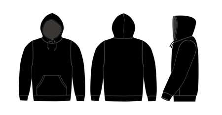 Illustrazione per Illustration of hoodie (hooded sweatshirt) / black - Immagini Royalty Free