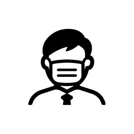 Illustrazione per face mask, flu mask icon (man) - Immagini Royalty Free