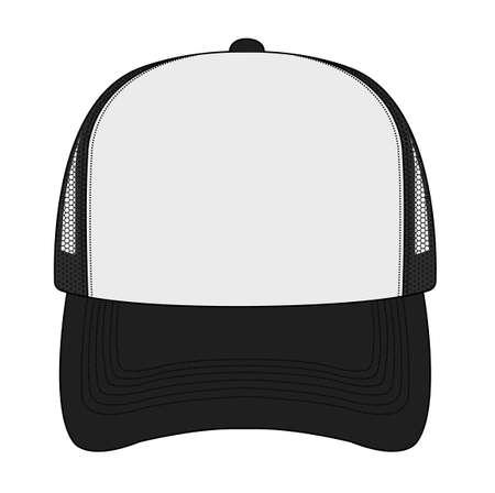 Illustration pour Trucker cap/mesh cap template illustration (front view) - image libre de droit