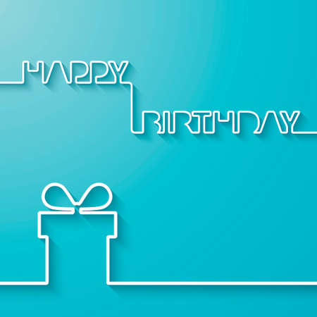 Illustration for Silhouette of text and giftbox on a light blue background  Birthday vector card - Royalty Free Image