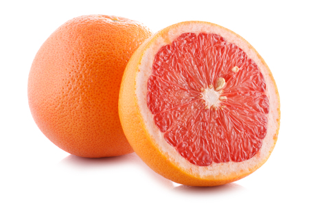 Photo for Half of fresh grapefruit on white background  - Royalty Free Image