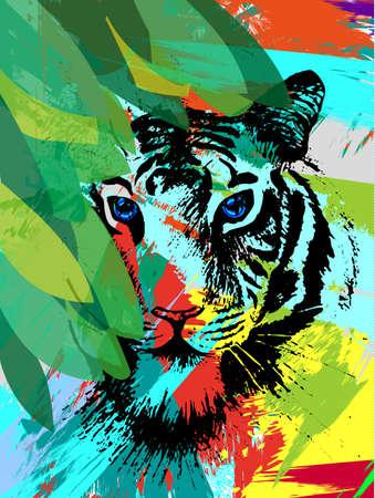 Illustration pour Tiger under leafes in vector - image libre de droit