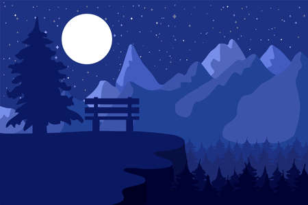 Illustration pour Forest reserve and park in the night coniferous near the mountains under moon. Vector - image libre de droit