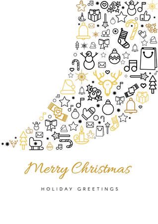 Illustration pour Merry Christmas greeting card template. Blizzard silhouette and lettering, linear Xmas festive icons - image libre de droit