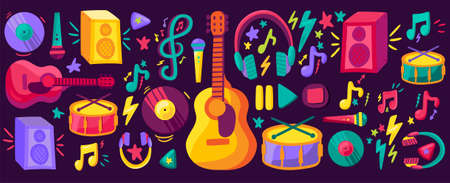 Ilustración de Musical instruments flat cliparts set. Hand drawn guitar, drums, records collection. Stickers pack - Imagen libre de derechos