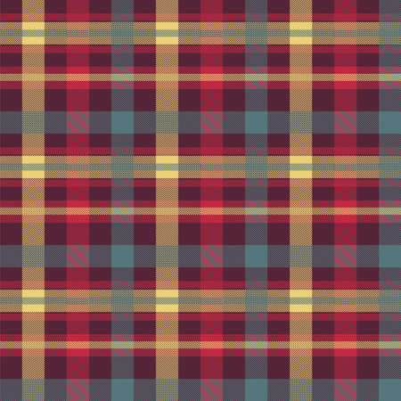 Illustration pour Plaid red color seamless vector pattern. Flannel fabric texture. Checkered textile background - image libre de droit