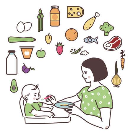 Ilustración de Mom is feeding up the baby with a spoon. - Imagen libre de derechos