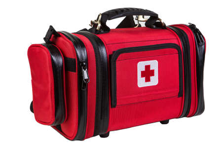 Foto de Modern portable doctor red bag isolated on white - Imagen libre de derechos