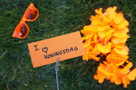 Photo for I love kingsday written in Dutch on a memo                         - Royalty Free Image
