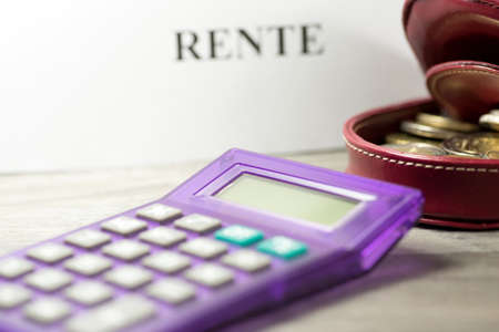Photo for Euro money, calculator and retirement - Royalty Free Image