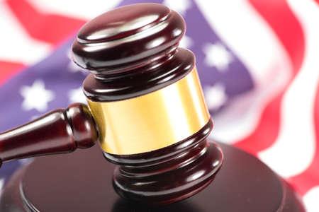 Photo pour Seducer`s hammer and american flag - image libre de droit