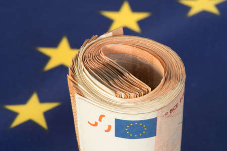 Photo for Flag of the European Union EU and Euro banknotes - Royalty Free Image