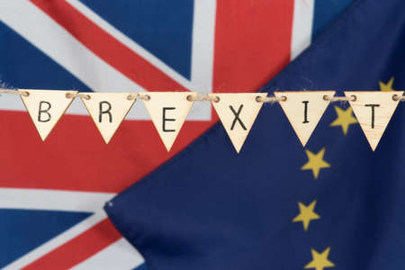 Photo for Flags of the EU and Great Britain and Brexit - Royalty Free Image
