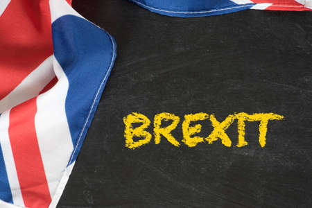 Photo for Flag of Great Britain, chalk board and the word Brexit - Royalty Free Image