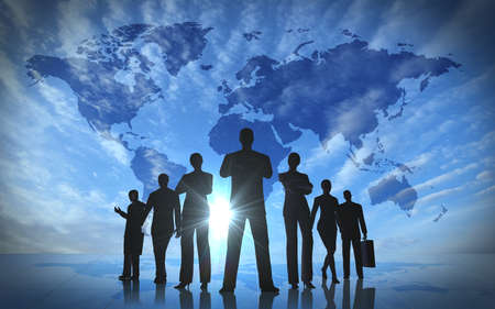 Global team business people silhouettes rendered with computer graphic