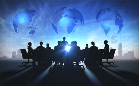 Photo for Global Management Team in office silhouette - Royalty Free Image