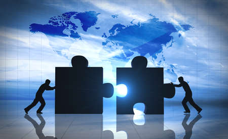Photo for World Business teamwork puzzle pieces  - Royalty Free Image