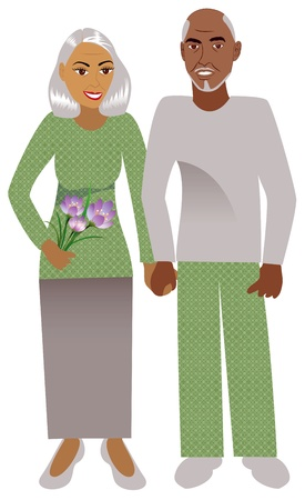 Illustration for Illustration of a happy old couple in love. - Royalty Free Image
