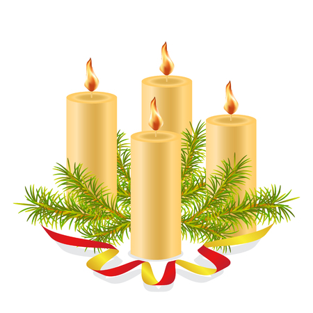 Illustration pour Four burning wax candles, decorated with a spruce branch and decorative red ribbon. - image libre de droit